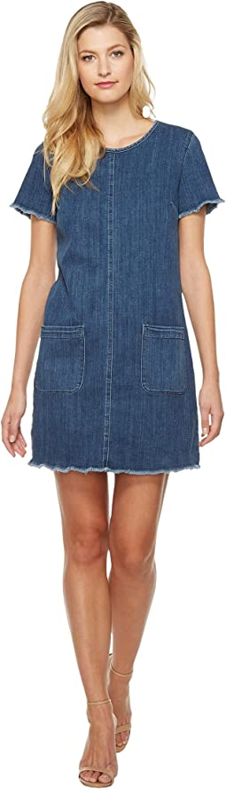 TWO by Vince Camuto - Short Sleeve Indigo Denim Drayed Shift Dress