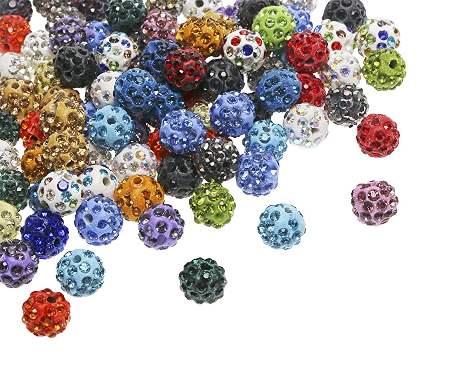 Penta Angel 10mm 100Pcs Mixed Color Disco Beads Clay Beads Pave Rhinestones Spacer Round Beads for Bracelets Jewelry Making DIY Craft