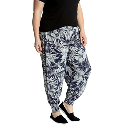872d032a109 Nouvelle Collection New Womens Plus Size Harem Trouser Ladies Floral Navy  Print Ali Baba Pants Cuffed