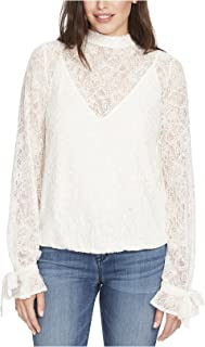 William Rast Women's Rayne Lace Mock-Neck Top Marshmallow XL