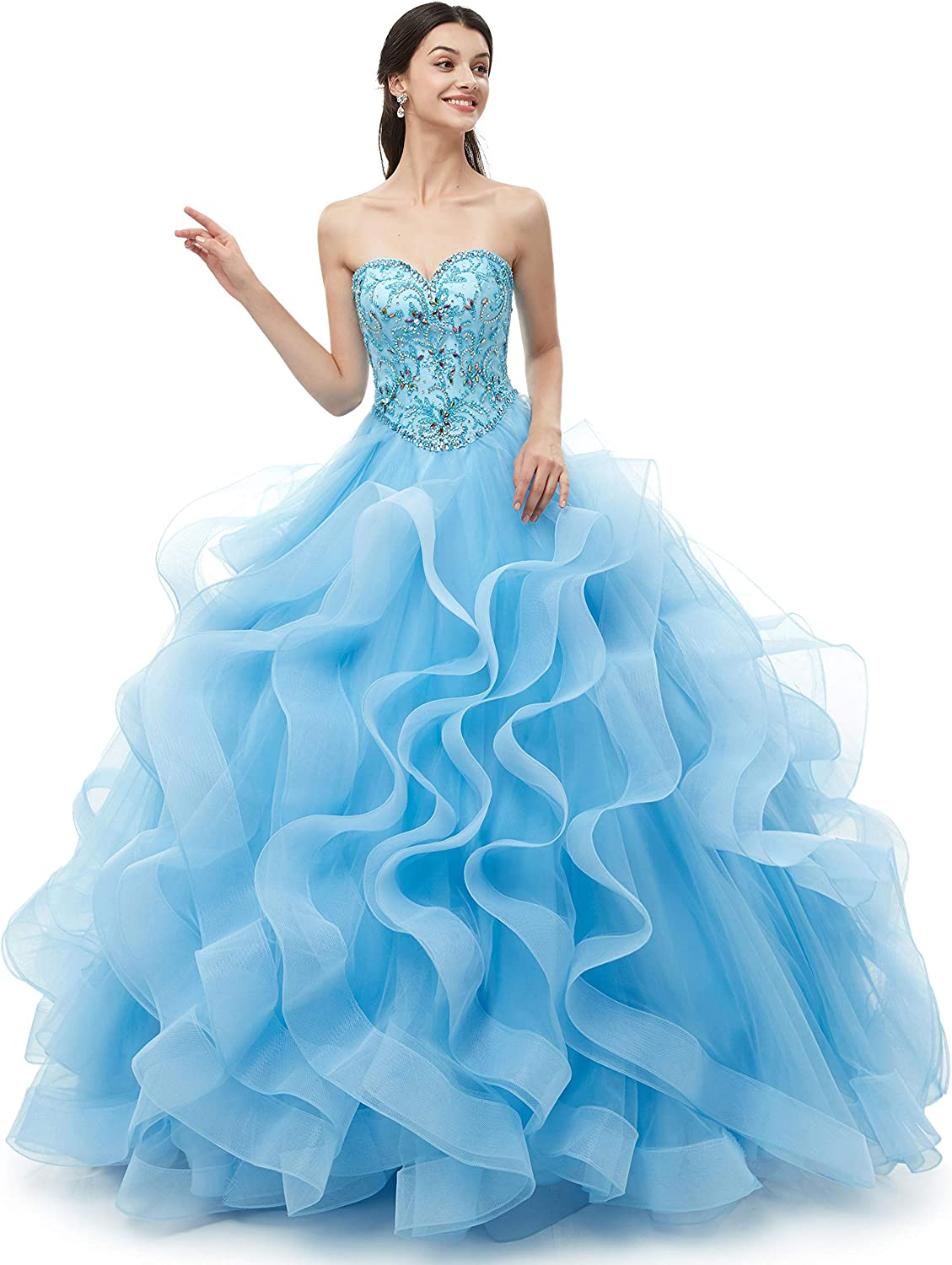 Maricopyjam Women's Heavy Beaded Ball Gown Quinceanera Dresses Ruffles Prom Gowns