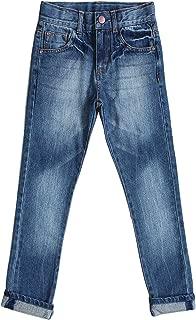 Bienzoe Boy's Cotton Adjustable Waist Slim Denim Pants Blue Jeans