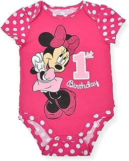 Disney Baby Girl's Minnie Mouse Short Sleeve First Birthday Bodysuit Onesie