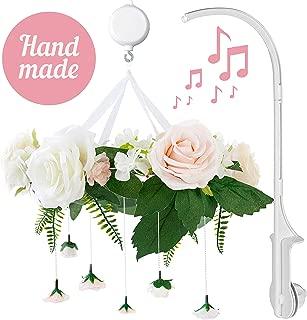 Rose Flower Baby Mobile with Music Box & Crib Arm. Handmade Floral Baby Crib Mobile. Girl Nursery Decor, Baby Shower Gift