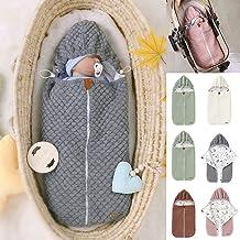 Yuehuam Pucksack für Neugeborene, gestrickter Schlafsack, dick, warm, Kinderwagen, Wickeldecke, Schlafsack mit Kordelzug mit Kapuze – einfaches Windelwechseln 0–6 Monate