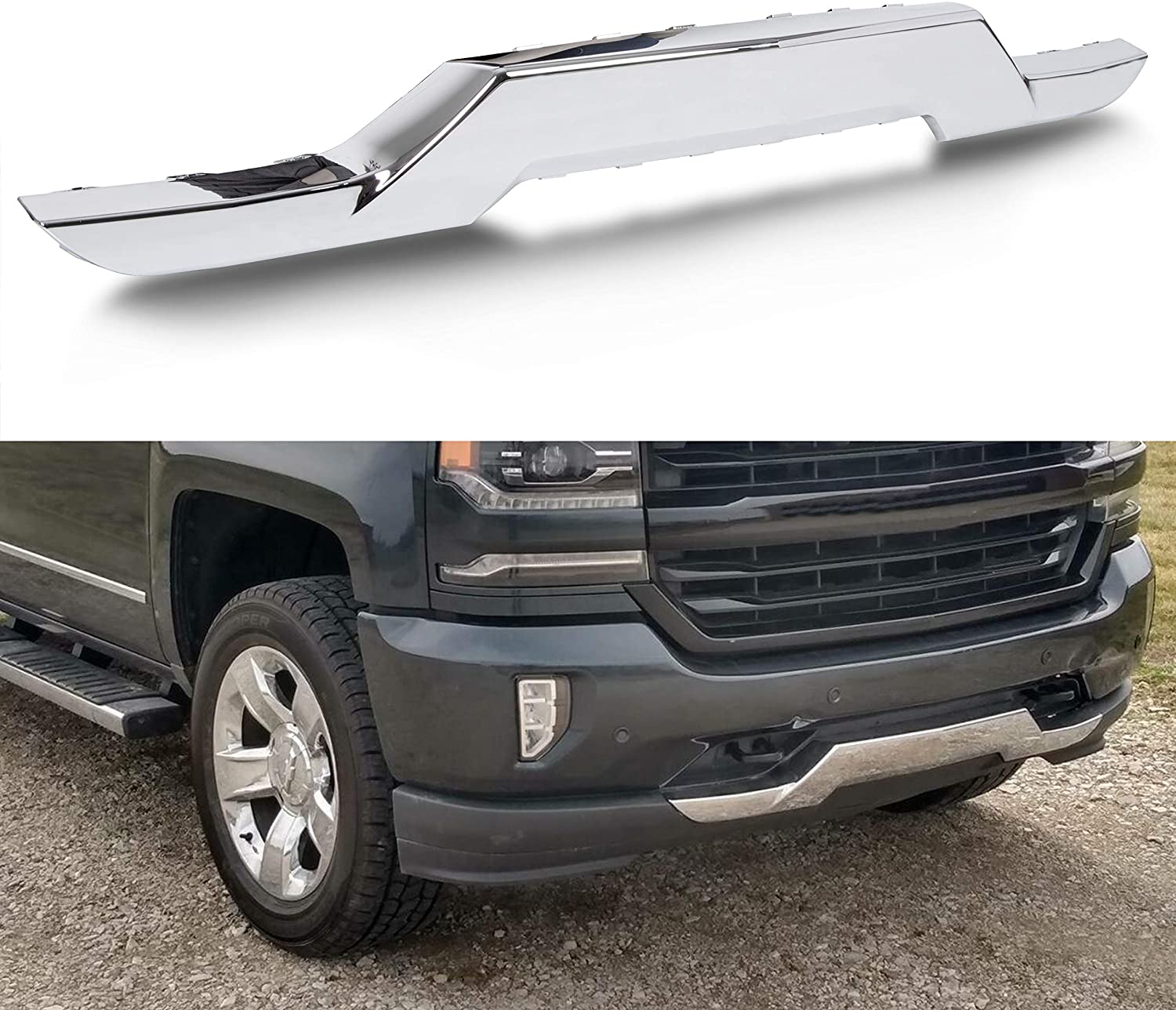 Buy Ecotric Front Bumper Skid Plate Chrome Compatible With 2016 2019 Chevy Silverado 1500 Replacement For 23243083 Gm1044128 Online In Indonesia B08bc6ss2j