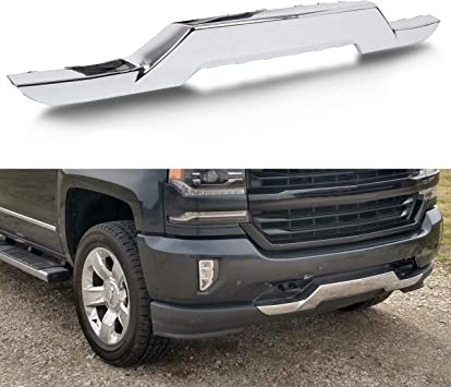 Amazon Com Ecotric Front Bumper Skid Plate Chrome Compatible With 2016 2019 Chevy Silverado 1500 Replacement For 23243083 Gm1044128 Automotive