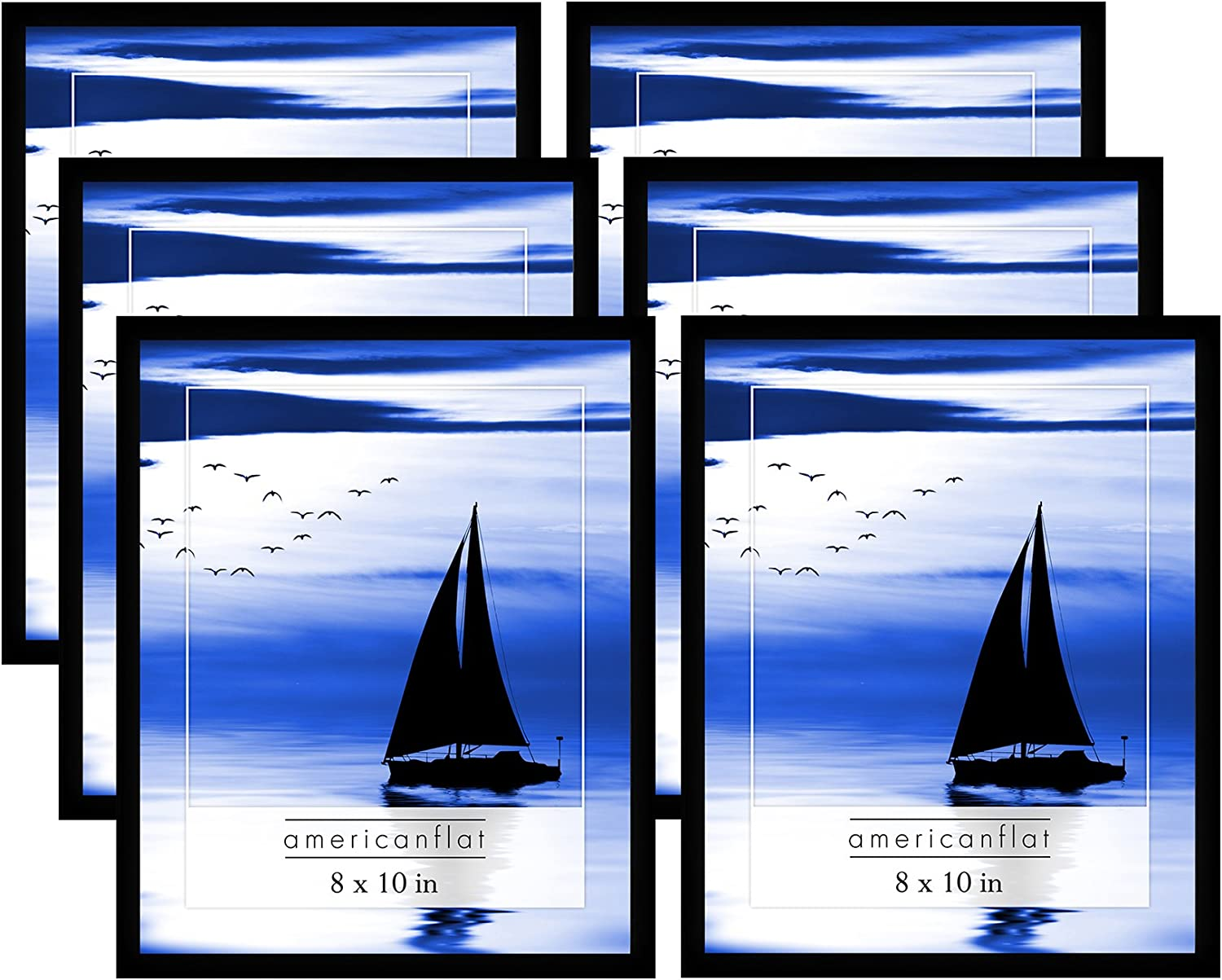 Free Shipping Cheap Bargain Gift Americanflat 6 Piece 8x10 Gallery Super beauty product restock quality top! Wall Blac Frame Picture Set in