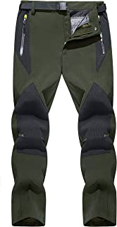 TACVASEN Mens Hiking Trousers Water-Resistant Outdoor Trousers Quick Dry Fishing Trousers with Zip Pockets