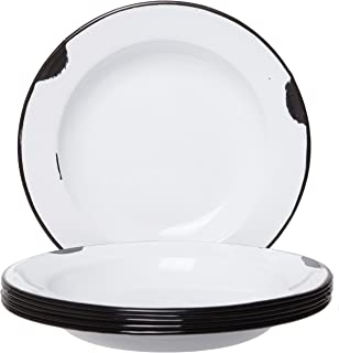 Distressed Enamelware Plates White Body with Black Rim - Set of 6-8 Inch Diameter, Perfect for Picnic, Camping and Outdoor Activity