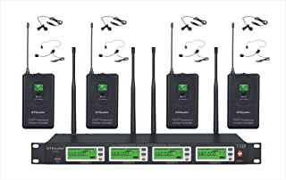 GTD Audio 4x800 Channel Selectable Frequency UHF Diversity Wireless Lavalier/Lapel/Headset Microphone Mic System 787 (4 Lavaliere Mics)