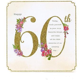 Carte D Anniversaire 60 Ans Pour Femme Amazon Fr Fournitures De Bureau