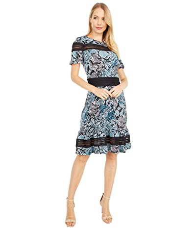 MICHAEL Michael Kors Paisley Mesh Mix Short Sleeve Dress (Spa Blue) Women