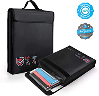 Vemingo Fireproof Bag 2000 Degree Water Resistant Document Holder 15.8 x 12.6 x 3 Inches Non-Itchy Silicone Coated Fireproof Safe Storage Black