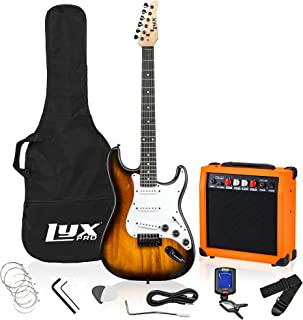 LyxPro Full Size Electric Guitar with 20w Amp, Package Includes All Accessories, Digital Tuner, Strings, Picks, Tremolo Ba...
