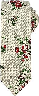 Kihatwin Men Novelty Ties Linen Cotton Skinny Cravat Pattern Printed Casual Neckties