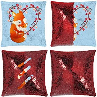 Huayuanhurug Foxy Mama and Cute Baby Fox Sequin Pillow Cover, Sequin Pillowcase, Two Color Change Pillow Cover for Home Sofa Decor Funny Pillow Case 18 Inch