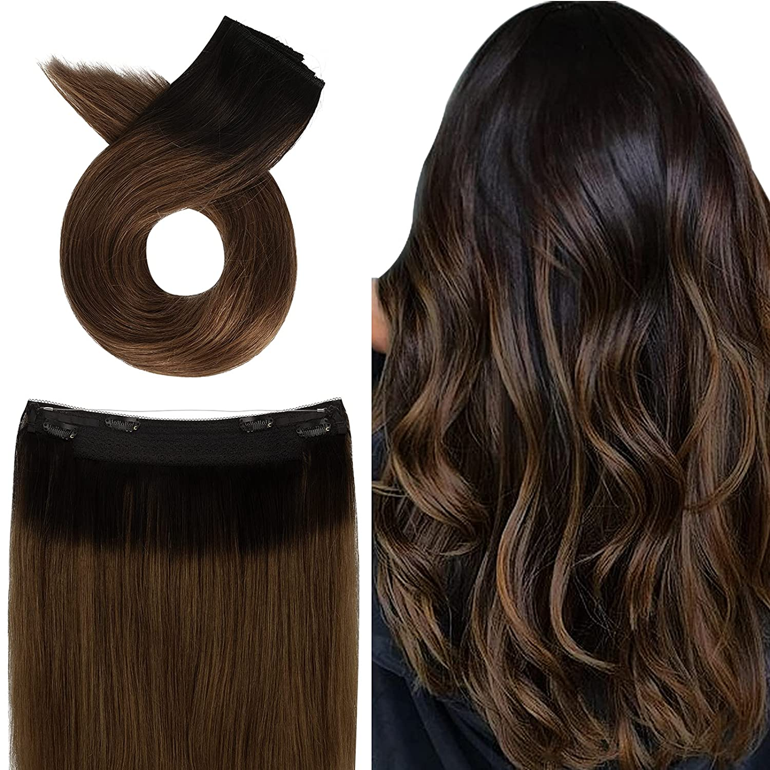 Halo Hair Super-cheap Extensions Human Real OmbreChestnutBrown Gifts