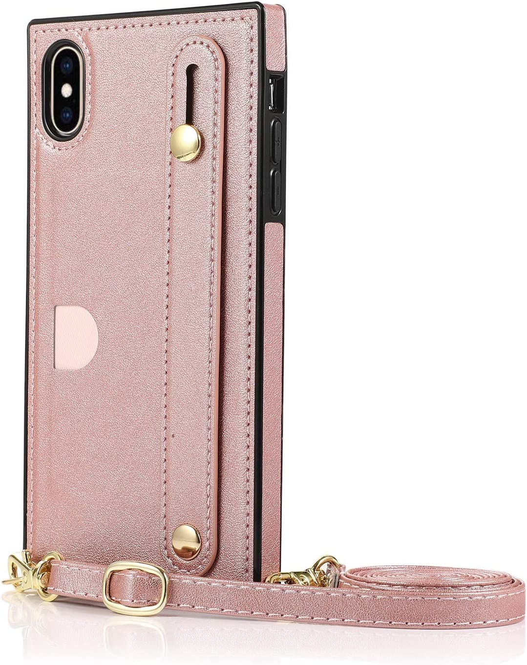 SLDiann Case for iPhone Xs max, Leather Case with Credit Card Slot Non-Slip Buckle Holder/Crossbody Long Lanyard, Shockproof Leather TPU Case Cover for iPhone Xs max (Color : Rosegold)