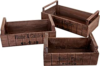 MyGift Rustic Style Nesting Wood Planter Display Boxes, Decorative Storage Crates, Set of 3, Brown