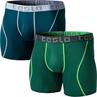 """TESLA Men's Relaxed Stretch 3""""/6""""/9"""" Open-Fly/No-Fly Cool Dry Brief Mesh Underwear Trunk (2-Pack) MBU"""