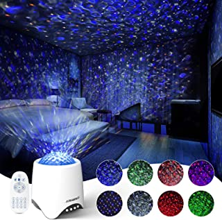 2-in-1 Star Projector and Sound Machine, Htwon Night Light for Kids Adult Bedroom with 8 White Noise, 8 Soothing Music, Bl...