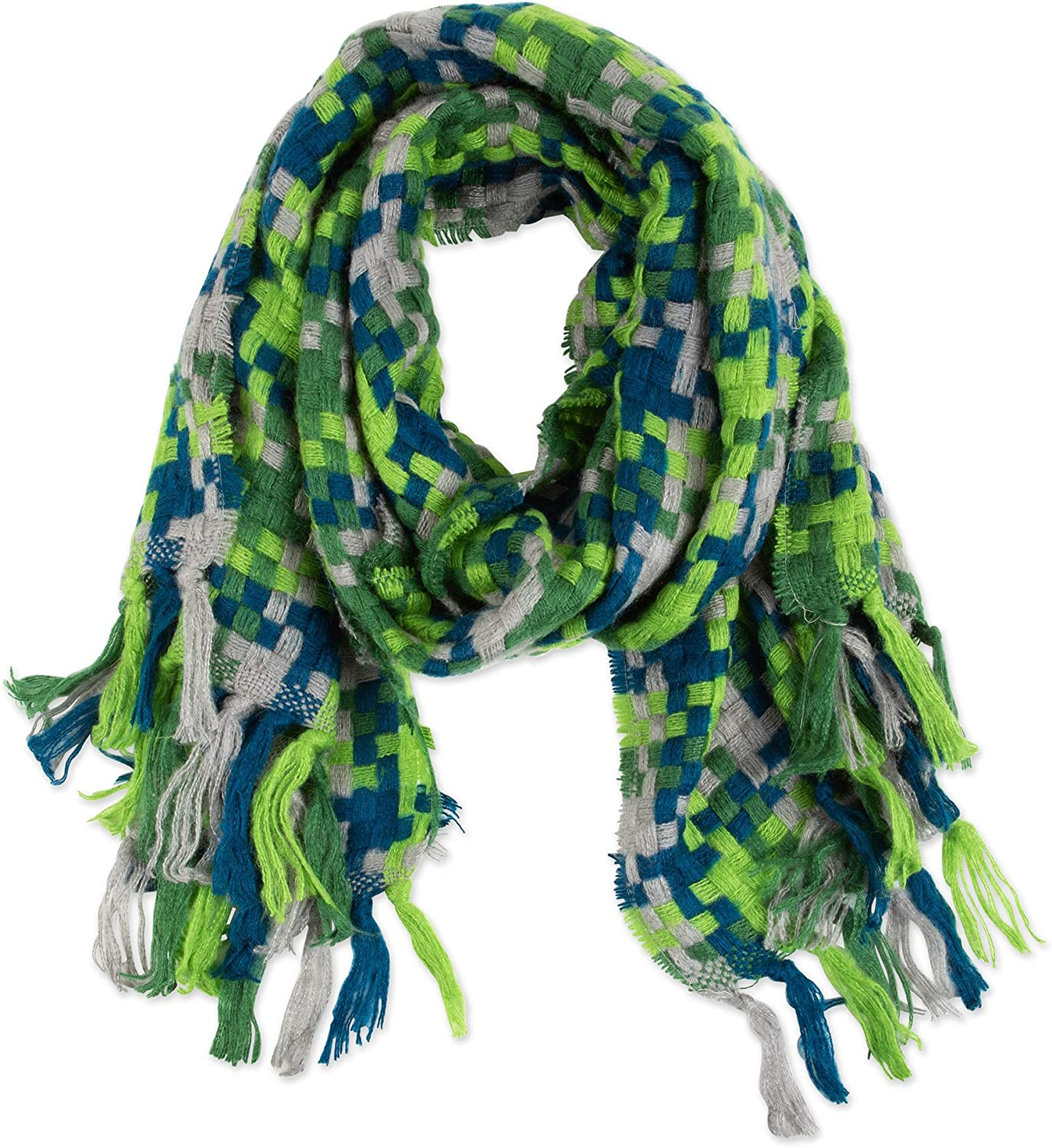 Tickled Pink Fun, Trendy, Winter Fashion Scarf Green and Blue Chunky Knit Acrylic - One Size Fits All
