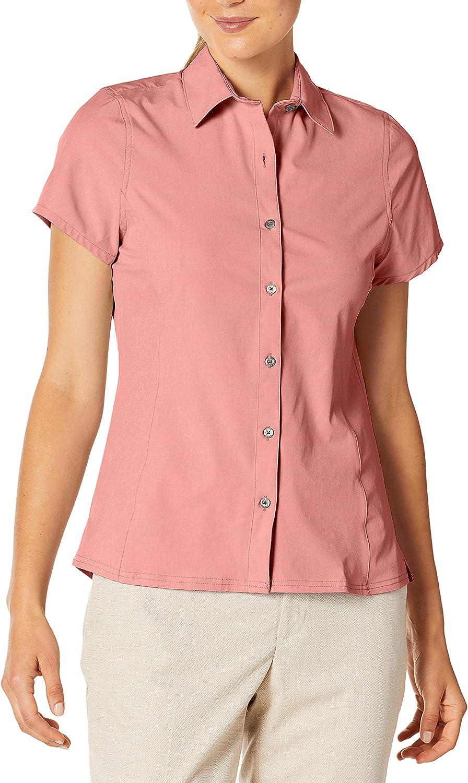 Hi-Tec Women's Sandless 全店販売中 Melange Button Stretch Acti 安値 Sleeve Short
