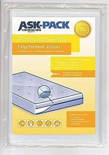 ASK Pack Housse De Protection Matelas King Premium (3. Génération) avec fermeture éclair pour largeur 200cm / 30cm de haut...