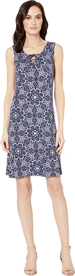 Printed Jersey Sleeveless Lace-Up Dress