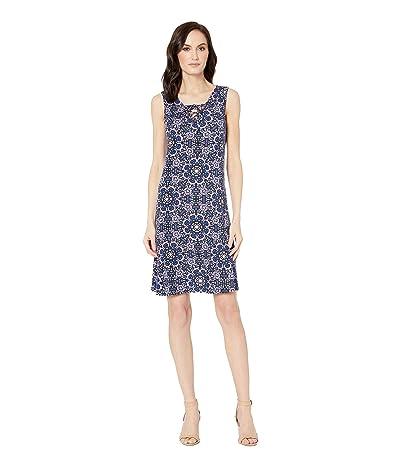 Tribal Printed Jersey Sleeveless Lace-Up Dress (True Blue) Women