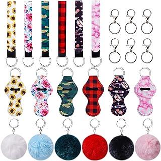 Chapstick Holder, Lip Balm Holder Keychain set with Wristlet Keychain, Keyring and Fuzzy Ball for Girls Women Christmas Va...