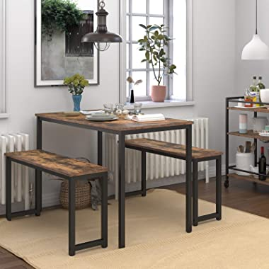 HOOBRO Table Benches, Pair of 2 Dining Benches, Industrial Style Indoor Benches, Durable Metal Frame, for Kitchen, Dining Roo