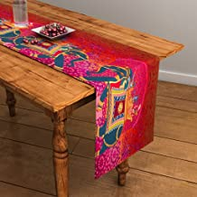 Sej By Nisha Gupta Sej Abstract Orange Hd Digital Premium 12 By 47 Inches Table Runner
