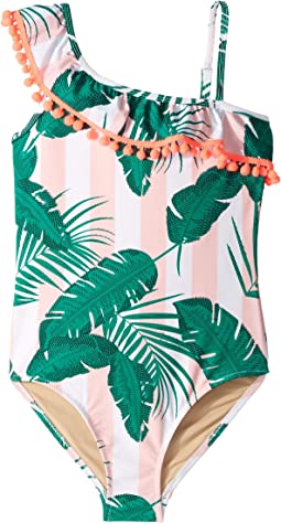 One Shoulder Botanical One-Piece (Little Kids/Big Kids)