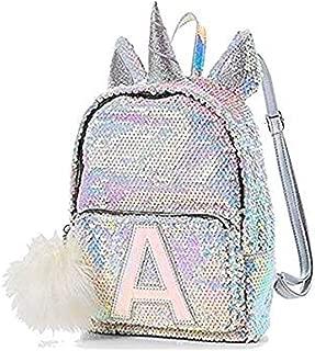 Flip Sequin Mini Small Backpack Bleach White Unicorn Initial (letter H)