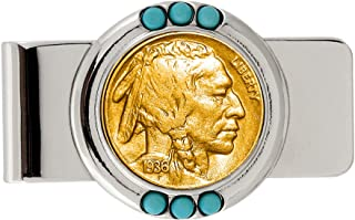 Coin Money Clip - Buffalo Nickel Layered in Pure 24k Gold | Brass Moneyclip Layered in Silver-Tone Rhodium | Genuine Turquoise Stones | Holds Currency, Credit Cards, Cash | Genuine U.S. Coin