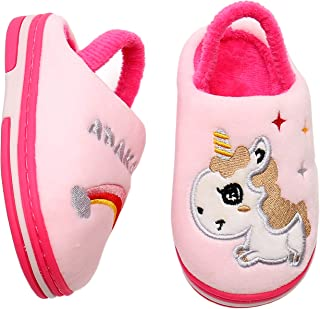 Ahannie Toddler Boys Girls Cute Slippers with Elastic Strap, Little Kid Comfy Slip-on Memory Foam Indoor House Shoes