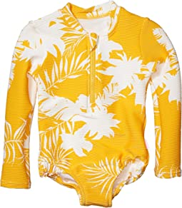 Mini Me Wild Tropic Rib Long Sleeve Surf One-Piece (Toddler/Little Kids)