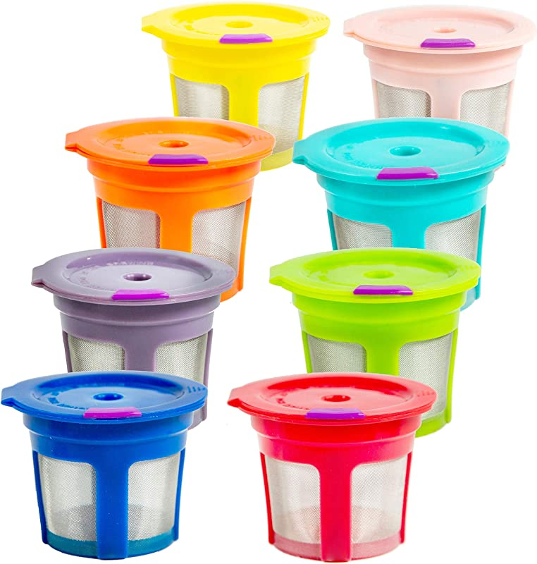 8 Reusable Keurig Single K Cup 2 0 Solo Filter Pod Coffee Stainless Mesh 8 Rainbow Color
