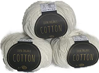 Premium Organic, Authentic Egyptian 100% Cotton Yarn, 3 SKEINS, Super Soft, for Knitting and Crocheting (Natural) (White)