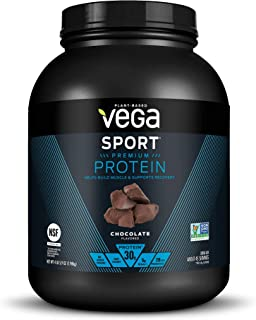Vega Sport Premium Protein Powder, Chocolate, Plant Based Protein Powder Post Workout - Certified Vegan, Vegetarian, Keto-Friendly, Gluten Free, Dairy Free, BCAA Amino Acid (45 Servings / 4lbs 5.9oz)
