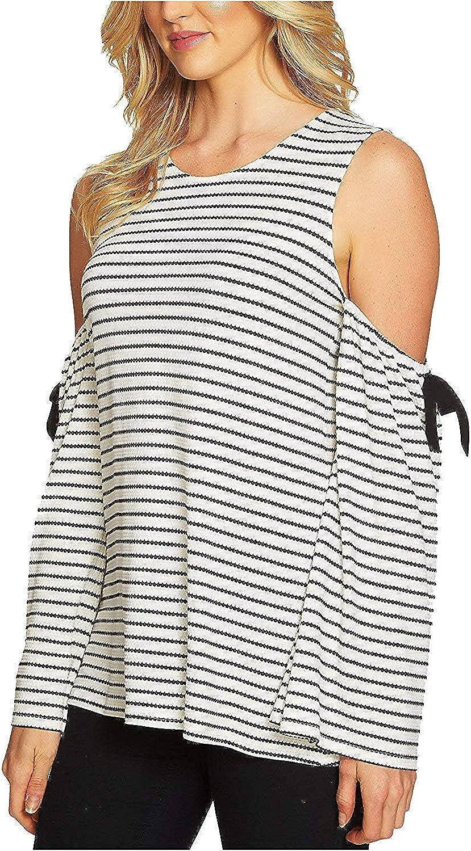 C&E CeCe Women's Cold Shoulder Bow LongSleeve Jacquard Top