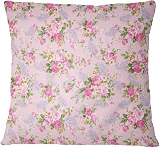 S4Sassy Decoración Rosa Fundas de colchón 2 PCS popelín de algodón Floral y Paisley Case Imprimir Almohada-16 x 16 Pulgadas