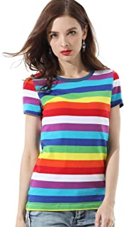 Striped T Shirts for Women Rainbow Tee Shirt Crew Neck Short Sleeve Stripes Tops