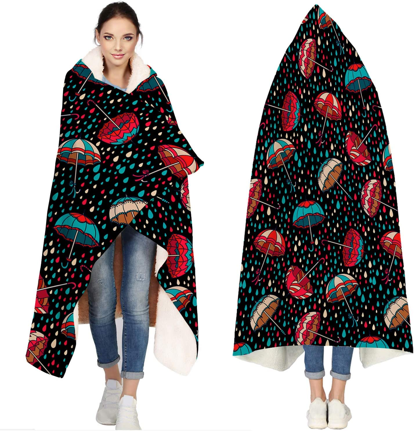 Seven Roses shop Hooded Blankets for Max 61% OFF Drop Umbr Water Adults Colorful
