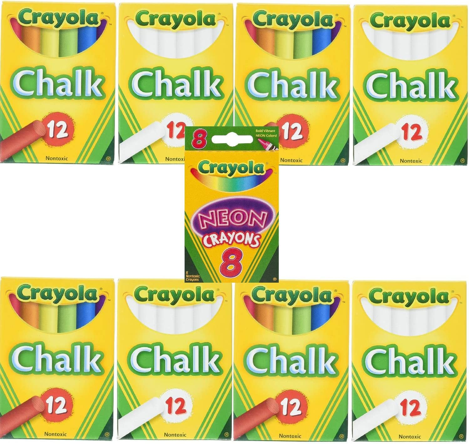 Crayola Ranking TOP10 Non-Toxic White Award-winning store Chalk 12 ct box of 4 Colored C and Pack