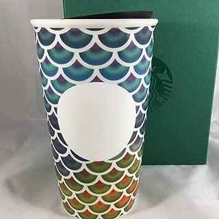 STARBUCKS Colorful Scales Double Wall Ceramic Traveler Tumbler 2016 12 Oz