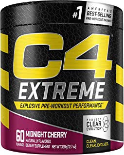 Cellucor C4 Extreme Pre Workout Powder Midnight Cherry | Sugar Free Preworkout Energy Supplement for Men & Women | 200mg C...