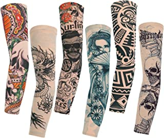 Konsait 6pcs Manche Bras Manchette Tatouage Faux Tatouage Tattoo Collant Manches Bras Glissement pour Homme Femme Unisexe Halloween
